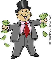 argent, riche, homme affaires