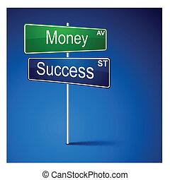 argent, route, direction, signe., reussite