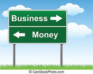 argent, signe., business, route