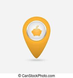 argent, signe jaune, vecteur, porcin, icône, banque, emplacement