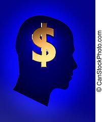 argent, sur, pensées