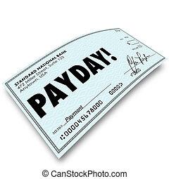 argent, travail, jour paie, chèque, compensation, revenus, paiement