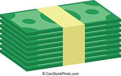 argent, vecteur, pile, icône
