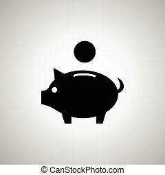 argent, vecteur, tirelire, icône