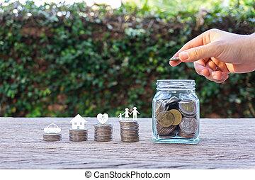 argent, vie, concepts., économies, famille