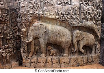 arjuna, caverne, mahabalipuram, chennai