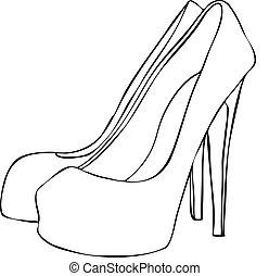 armé, élevé, élégant, stylet, chaussures