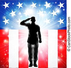 armé, nous, saluer, forces, drapeau, militaire, soldat, silhouette
