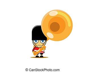 armée, corne, francais, uniforme, membre, soldat, vecteur, instrument., illustration, bande, militaire, jouer, musical, rouges