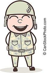 armée, expression, figure, vecteur, bouche, sourire, ouvert, dessin animé, homme