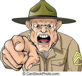 armée, fâché, cris, sergent, foret, dessin animé