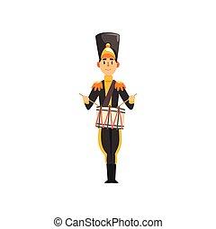 armée, illustration, uniforme, membre, soldat, vecteur, noir, instrument, fond, bande, batteur, militaire, blanc, jouer, musical