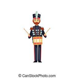 armée, tambour, batteur, illustration, jouer, membre, soldat, vecteur, instrument, fond, bande, militaire, blanc, musical