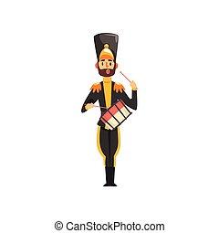 armée, tambour, illustration, uniforme, membre, soldat, vecteur, noir, instrument, fond, bande, militaire, blanc, jouer, musical