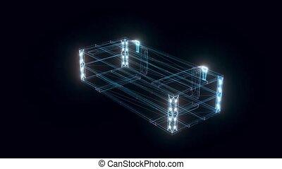 armée, tourner, boîte, hologramme