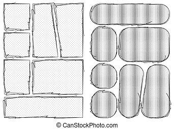 armature impression, manga, style., proportion, fait main, comique, a4, disposition, storyboard, crise, dehors., livre croquis, gabarit, ensemble, papier, style, isolé, conception, vecteur