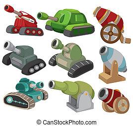 arme, ensemble, tank/cannon, dessin animé, icône