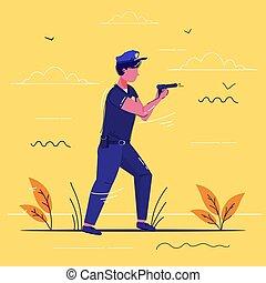 arme, policier, pistolet, service, police, longueur, sécurité, croquis, officier, concept, debout, entiers, uniforme, autorité, tenue, bas, justice