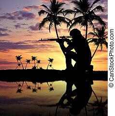 arme, terroriste, silhouette