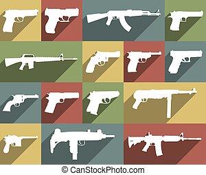 armes, différent, ensemble, icône