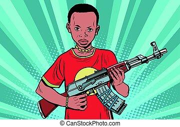 armes, garçon, automatique, akm, africaine