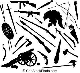 armes, mélange, vecteur