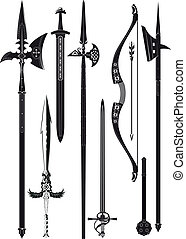 armes, moyen-âge, collection