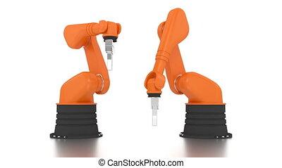 armes robotique, bâtiment, industriel, mot, fait