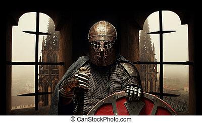 armure, casque, khight, épée moyen age