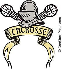 armure, chevalier, lacrosse, woodcut, crosse