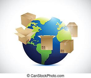 around., expédition, globe, boîtes, illustration