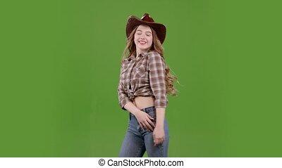 around., onduler, elle, danse, cowgirl, écran, cheveux, vert, vent