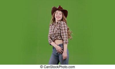 around., onduler, lent, elle, danse, cowgirl, screen., cheveux, vert, mouvement, vent