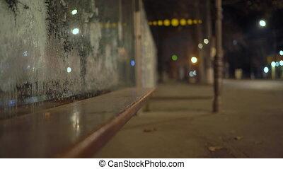 arrêt autobus, autumn., surgelé, ville, verre, rue, vide, nuit, abri