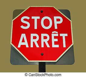 arrêt, bilingue, signe