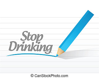arrêt, boire, conception, message, illustration