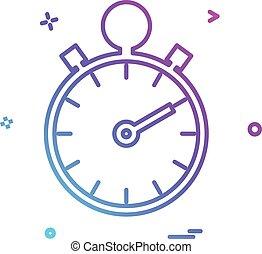 arrêt, conception, vecteur, montre, icône