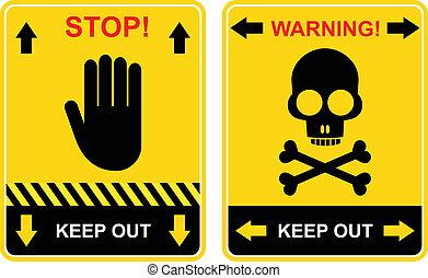arrêt, garder, signe, -, dehors