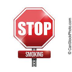 arrêt, illustration, signe, conception, fumer, route