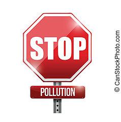arrêt, illustration, signe, conception, route, pollution