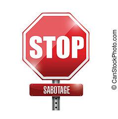 arrêt, illustration, signe, conception, sabotage, route