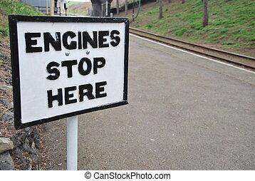 arrêt, moteurs, ici, signe