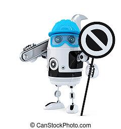 arrêt, ouvrier, robot, signe, construction, clé