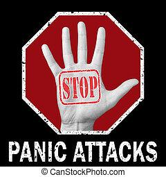 arrêt, panique, illustration., attaque, conceptuel