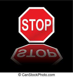 arrêt, reflet, panneaux signalisations