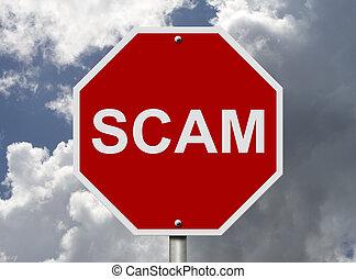 arrêt, scam, mot, signe