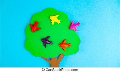 arrêt, sky., bas, voler, avion, quarantaine, sociétés, entourer, avions, concept, transport, multi-coloré, mouvement, animation., serrure, contre, beaucoup, clouds., voyage, bleu, fin, arbre, air