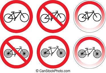 arrêt, variantes, ensemble, vélo, signe