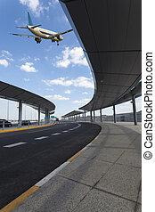 arrêt, vol, aéroport, autobus