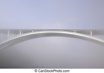 arrabida, pont, brouillard